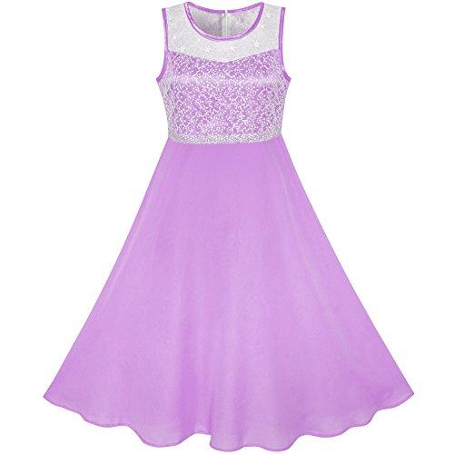 Sunboree Mädchen Kleid Lila Chiffon Brautjungfer Tanzen Ball Maxi Kleid Gr. 146