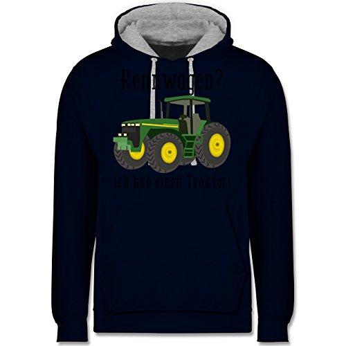 Landwirt - Rennwagen? Traktor! - Kontrast Hoodie Dunkelblau/Grau meliert