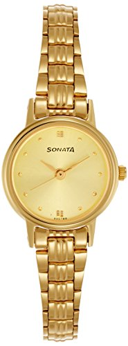 Sonata Analog Champagne Dial Women's Watch -8096YM02C