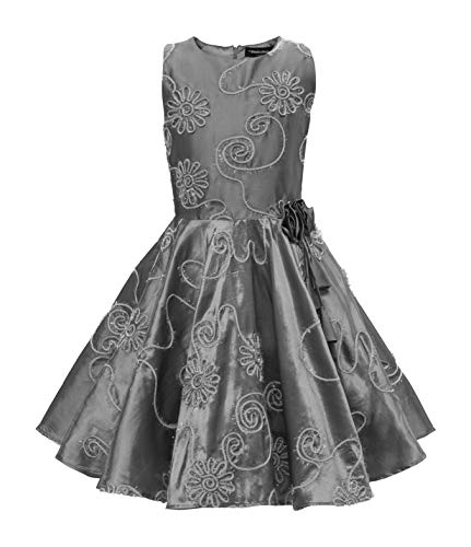 (BlackButterfly Kinder 'Audrey' Vintage Gestreift Mädchen Kleid im 50er-J-Stil (Silber, 11-12 J / 146-152))