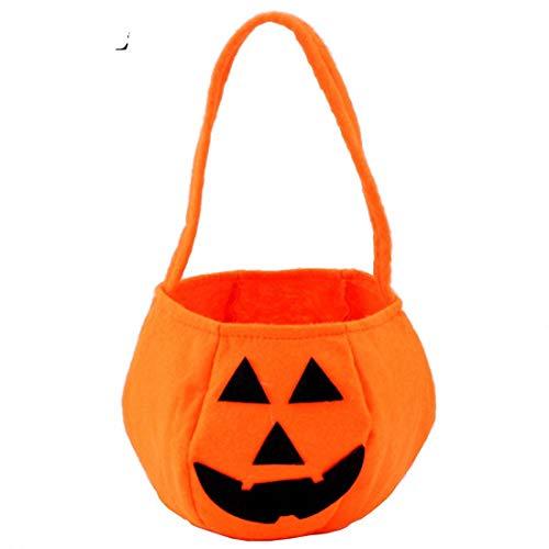Tdhappy Faltbare Halloween Candy Lächeln Kürbis Tasche Klapp Persönlichkeit Candy Geschenkkorb Wacky Ausdrücke Behandeln oder Tricky Tasche, Orange (Halloween Wachs Candy)