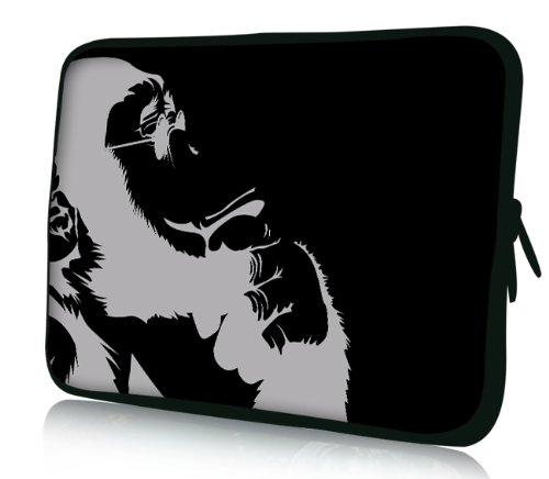 Luxburg® Design Laptoptasche Notebooktasche Sleeve für 15,6 Zoll (auch in 10,2 Zoll | 12,1 Zoll | 13,3 Zoll | 14,2 Zoll | 15,6 Zoll | 17,3 Zoll) , Motiv: Nachdenklicher Schimpanse