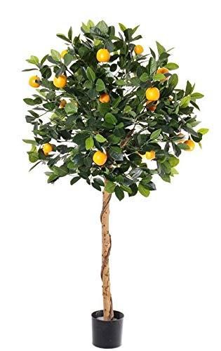 artplants.de Set 2 x Künstlicher Mandarinen Baum BARISHA, 26 Früchte, grün, 125cm - Kunstbaum - Dekobaum