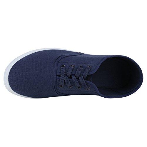 Damen Sneakers Stoff   Sneaker Low Muster   Basic Schuhe Animal Print   Freizeit Turnschuhe Schnürer Dunkelblau Weiß