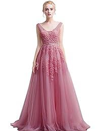 4307793345bc Babyonline Damen Rückenfrei Spitze Tüll Abendkleid Lang Ballkleid Hochzeit  Brautjungfernkleid mit Träger