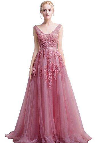 Babyonline Damen Huebsch Royalblau A-Linie Spitze Ballkleider Cocktail Abendkleider, Altrosa, Gr. 34 (Frauen Prinzessin Kleid Rosa)