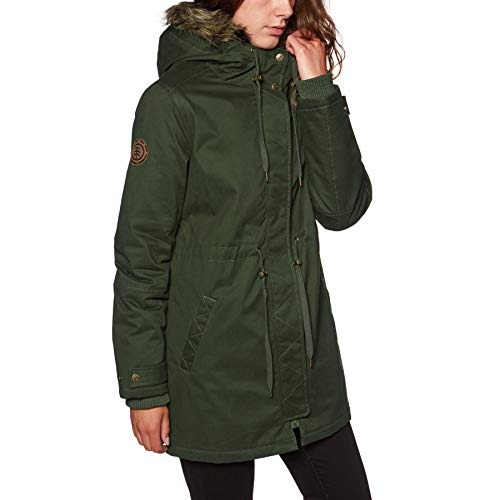 Element Chaqueta Mujer Curious Twill Verde Oscuro Drab (S, Verde Oscuro)