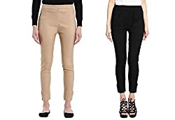 Broadstar Skin & Black Lam Lam Solid Palazzo Pant For Women- Pack Of 2