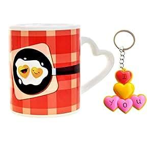 Valentine Gift House Set of valentine Gift Love Key Chain & Coffee Mugs Valentine Gift For Boy Friend Valentine Gift For Girlfriend