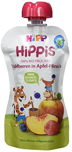 Preisvergleich Produktbild HiPP Waldbeeren in Apfel-Pfirsich - Thilo Tiger,  6er Pack (6 x 100 g)