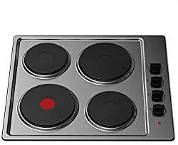 Cookology 60cm Solid Plate Hob   Stainless Steel Hotplate, 4 Zone, Electric, Built-in, 600mm, SEP600SS