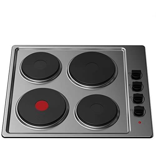 41YsSqVk1qL. SS500  - Cookology 60cm Solid Plate Hob, Hotplate Cooker, 4 Zone, Electric, Built-in, 600mm (Stainless Steel, 60cm)