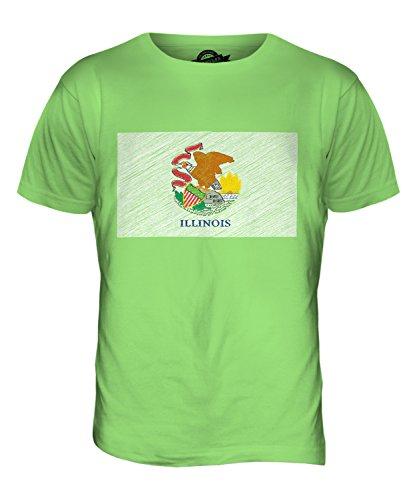 CandyMix Bundesstaat Illinois Kritzelte Flagge Herren T Shirt Limettengrün