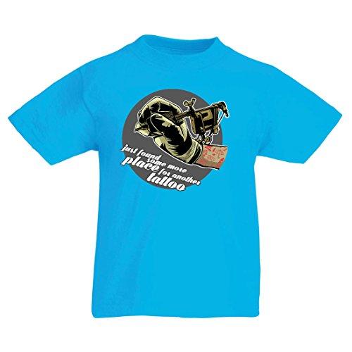 en/Mädchen T-Shirt Aerograph - Tätowierungs-Tinten-Maschine, ist jeder Zoll tätowiert, coole Spitzen, Fan-Kleidung, Spaß-Geschenk-Ideen (3-4 years Hellblau Mehrfarben) (Halloween Sketche, Ideen)