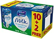 حليب مبستر قليل الدسم مع فيتامينات مضافة من المراعي، 1 لتر- عبوة من 12 علبة