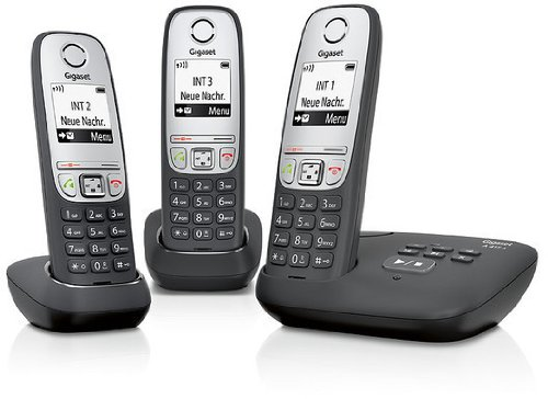 Gigaset A415A Trio 3 schnurlose Telefone mit Anrufbeantworter (einfache DECT Telefone mit Freisprechfunktion - Grafik Display und leichter Bedienung) schwarz (Telefon Mit Mehreren Mobilteilen)