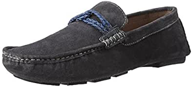BATA Men's Weaved Driver Grey Leather Loafers and Mocassins - 9 UK/India (43 EU) (8532049)
