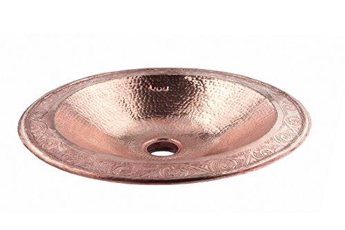 Kupfer-waschbecken (Rund Kupfer Aus rotem Oval handgefertigtes marokkanisches Bad - Waschbecken- gehämmert & eingraviert - L39 W29 H16 cm)