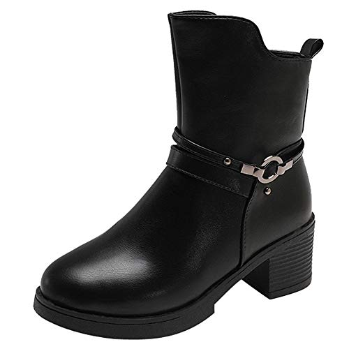 UFACE Damen Wedges Buckle Strap Leder Middle Boots Stiefel Schuhe Ankle Boot