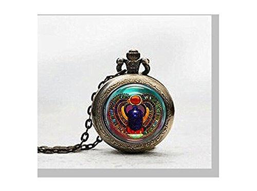 Skarabäus Anhänger Taschenuhr, Skarabäus Halskette Taschenuhr Charme, ägyptische Anhänger Taschenuhr Glass Tile Schmuck, Glas Ägyptische Uhr, Skarabäus potphoto
