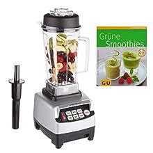 Ultratec Mixeur 2,0 litres – Mixeur haute performance avec une puissance de 1 500 watts ou 2 CV – 22 000 tr/min, mixeur, appareil à smoothies, hachoir, livre de recettes pour smoothies inclus, argenté