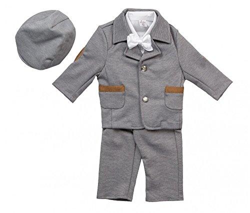BIMARO Baby Jungen Babyanzug Paul Taufanzug grau beige Jersey Hemd weiß Fliege Cap Anzug Taufe Hochzeit Anlass, (Anzug Grauen Kleinkind)
