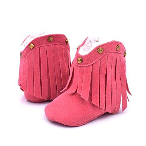 Winter Babyschuhe Jamicy® Baby Weiche Sohle Schnee Aufladungen Weiche Krippe Schuh Kleinkind Troddel Niet Aufladungen (Size : 12, Colour : Black) Colour : HotPink