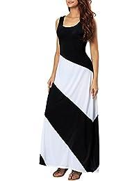 46c0d1ba0ac Aofur Women's Maxi Dress Boho Summer Sleeveless Evening Party Long Striped  Beachwear Dress