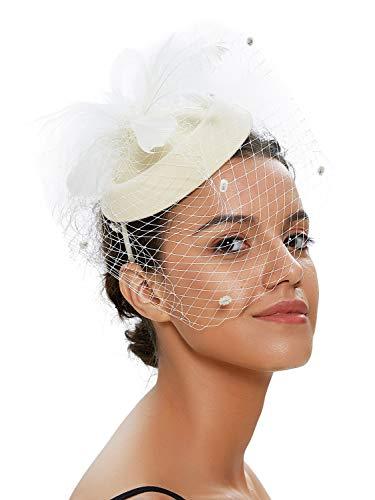 Kostüm Halloween Hochzeit - Zivyes Hochzeit Faszinator Hut 50er Jahre Mottoparty Accessories Halloween Kostüme Kopfschmuck (1-Elfenbein)