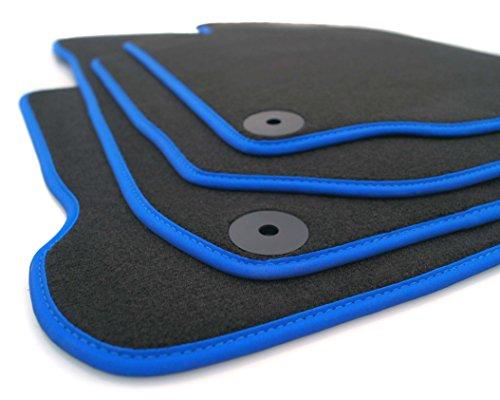 Fußmatten Golf 4 IV Bora (Velours) Premium Automatten 4-teilig, Schwarz mit blauen Nubuk Rand