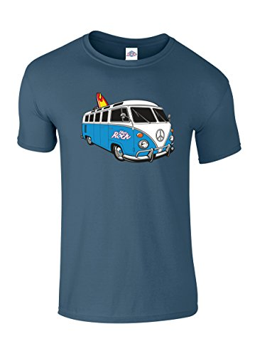 Blue-Rock-Unisex-Mens-Womens-Loose-Fit-VW-Style-Surf-Camper-Van-Blue-Printed-T-Shirt-MT2