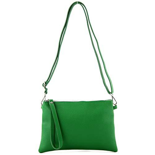 modamoda de - T186 - ital. Clutch/Umhängetasche Leder Medium, Farbe:Blattgrün - Grün Leder-clutch