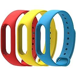 COOSA Correa de Recambio Brazalete Extensibles coloridos impermeables para reemplazo Pulsera XIAOMI Wireless Recambio para Pulsera Inteligente XIAOMI MI band 2 (sin Rastreador de actividad) (rojo+amarillo+azul, para xiaomi pulsera inteligente 2)