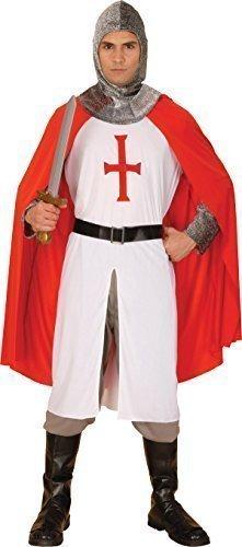 Mittelalter Ritter St. George's Tag Verkleidung Kostümparty Kreuzfahrer Komplettes Outfit - Rot Weiß, (Kreuzfahrer Ritter Kostüme Erwachsene)