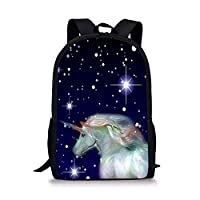 Prinbag, Unicorn Pattern Floral Print Backpack Waterproof Stylish School Bag for Boys and Girls Trend Casual Reduced Backpack - 16