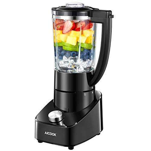 Mixer Glas Standmixer 700W mit 21.000 U/min Mixer Smoothie Maker mit 2 Geschwindigkeiten und Rostfreiem Titan Klinge, Ice Crusher, Schwarz