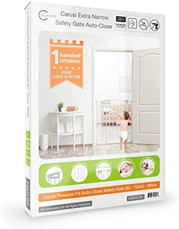 Callowesse Carusi Narrow Stair Gate. Self Closing, Quality Pressure Fitted Baby Gate. No Tools Required. (63-70cm, White) Callowesse Measure your opening before purchase - the carusi narrow only fits openings of 63-70cm. Versatile and dependable - the carusi narrow comes with plenty of features to help make your life easier. One handed operation - for times when you're holding your child or when your hands are full. 4