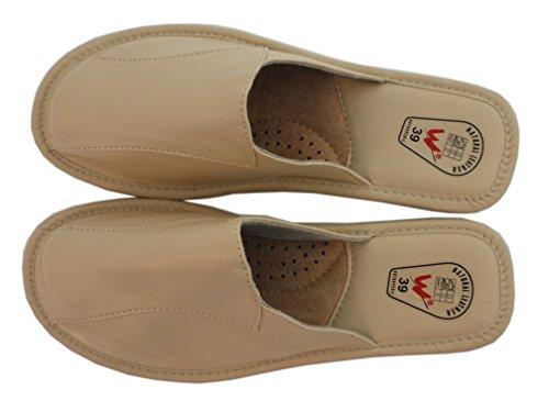 Slippers Natleat Womens Slippers 33 Mules-Zapatillas de estar por casa en Cuir Noir pour femme Noir Noir - Negro - crema