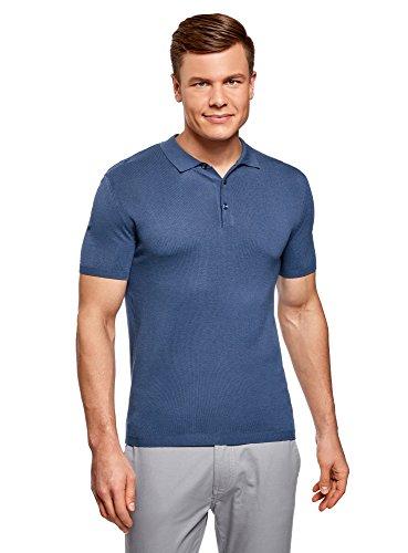 oodji Ultra Herren Gestricktes Poloshirt mit Kurzen Ärmeln Blau (7500N)