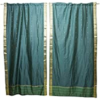 Mogul Interior Green Sari Curtains Rod Pockets Window Treatment Pair Gold Drapes 96x44