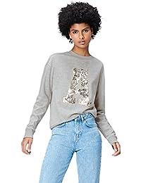 Amazon-Marke: find. Damen Sweatshirt mit Pailletten-Motiv
