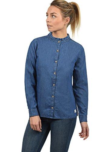 Lange Jeansbluse Hemdbluse Langarm Mit Stehkragen Aus 100% Baumwolle, Größe:M, Farbe:Med. Blue Denim (29035) ()
