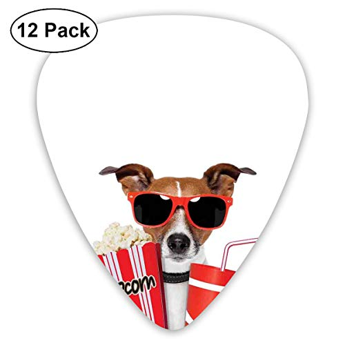 ectrum (0.46mm-0.96mm), Funny Dog Wearing Sunglasses Watching A Movie With Popcorn And Soda Print,For Your Guitar or Ukulele ()
