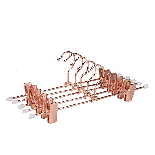 Amber Home EU Kupfer Rose Gold Glänzend Metall Hosen und Rock Aufhänger mit Verstellbaren Clips Hängen Rack mit Swivel Haken 5 Stück