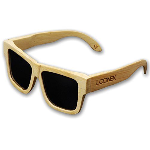 Loonex Bambus Sonnenbrille, polarisiert, in Handarbeit gefertigt, UV400, 55mm