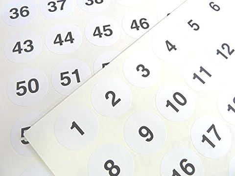 Weiß 25mm rund aufeinander folgenden, Sequentielle Zahl Sequence Etiketten, Nummerierung Aufkleber, von 1–70