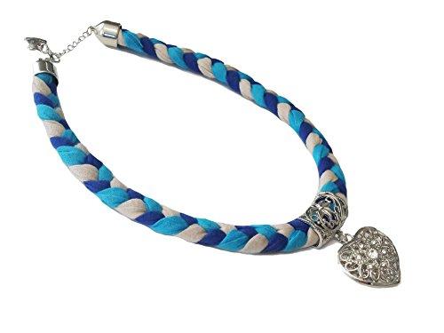 La Loria Trachtenkette Elegantes Herz mit Strass Trachtenschmuck in Blau-Grau