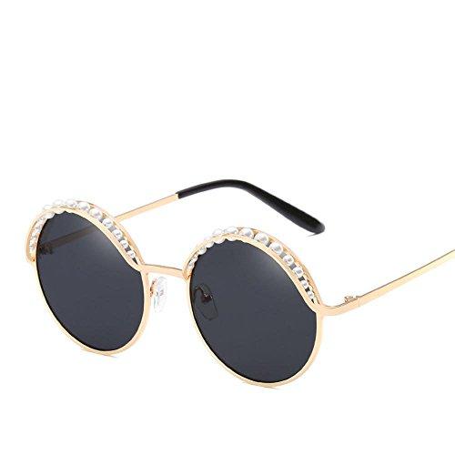 Aoligei Persönlichkeit runden Rahmen Sonne Brille Flut Person Lady Farbe Film Sonnenbrillen Intarsien Perle dekorative zu