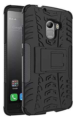 Msonic Cover, Shockproof Slim Rugged Hybrid Kickstand Back Cover Case for Lenevo K4 Note (Black)