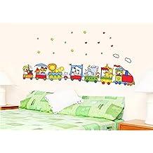 YESURPRISE Vinilo Decorativo Infantil Pegatina Pared Vidrio Cerámica Para Salón y Dormitorio Tren Con Animales Dibujos Coloridos
